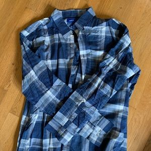 XXL Blue Button sown flannel